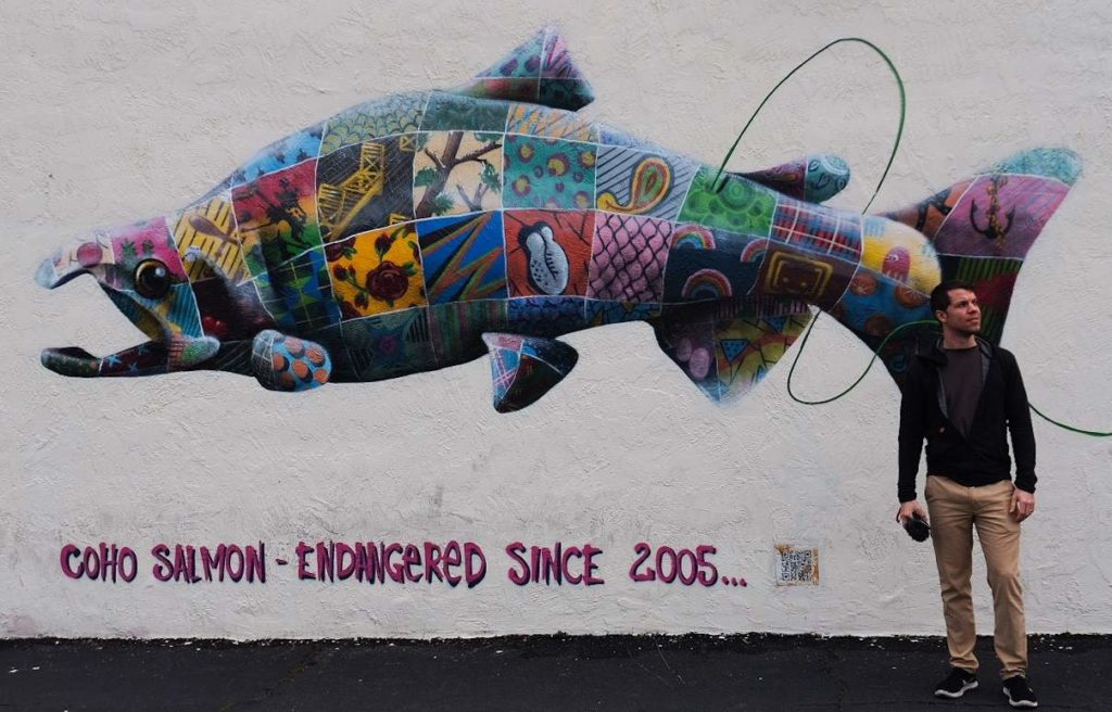 Lyall and Louis' 'Art of Beeing' Mural of the Coho Salmon in Sacramento