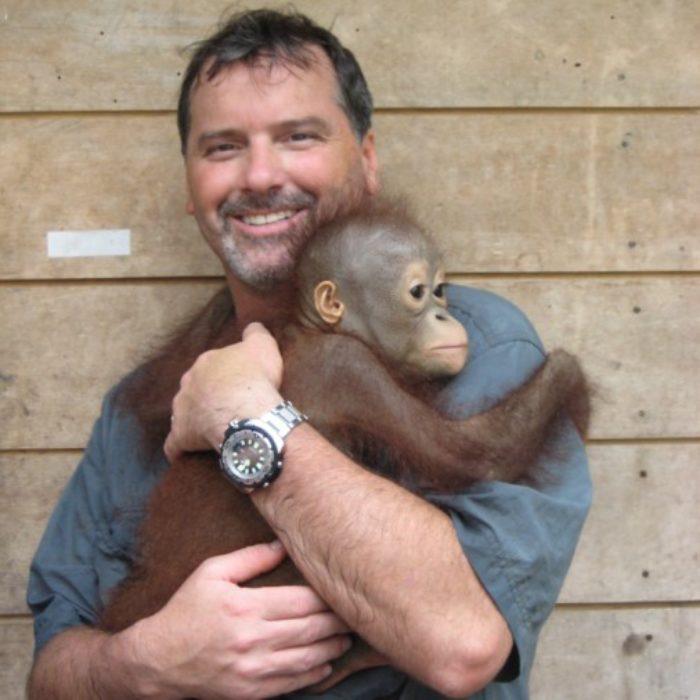 Todd Lemons and orangutan