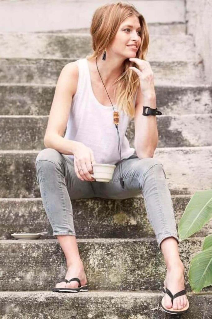 Here, we're talking flip flops folks and any of these vegan, eco friendly and recycled flip flops we've listed here will do the trick if you need to buy new... Image by Deux Mains #ecofriendlyflipflops #recycledflipflops #sustainablejungle