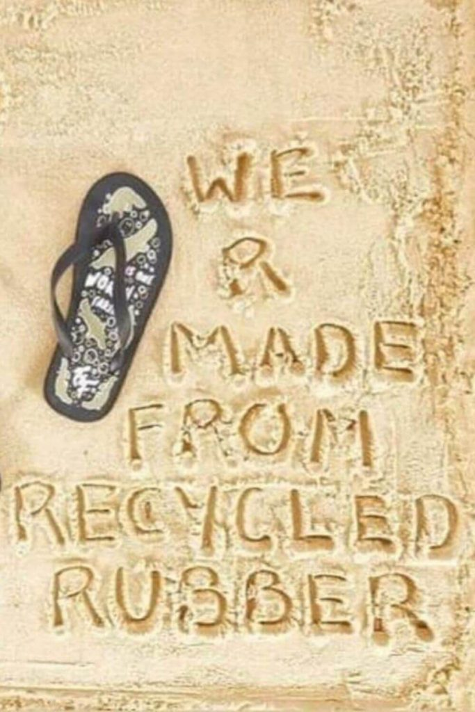 Here, we're talking flip flops folks and any of these vegan, eco friendly and recycled flip flops we've listed here will do the trick if you need to buy new... Image by Guardians of Our Future #ecofriendlyflipflops #recycledflipflops #sustainablejungle