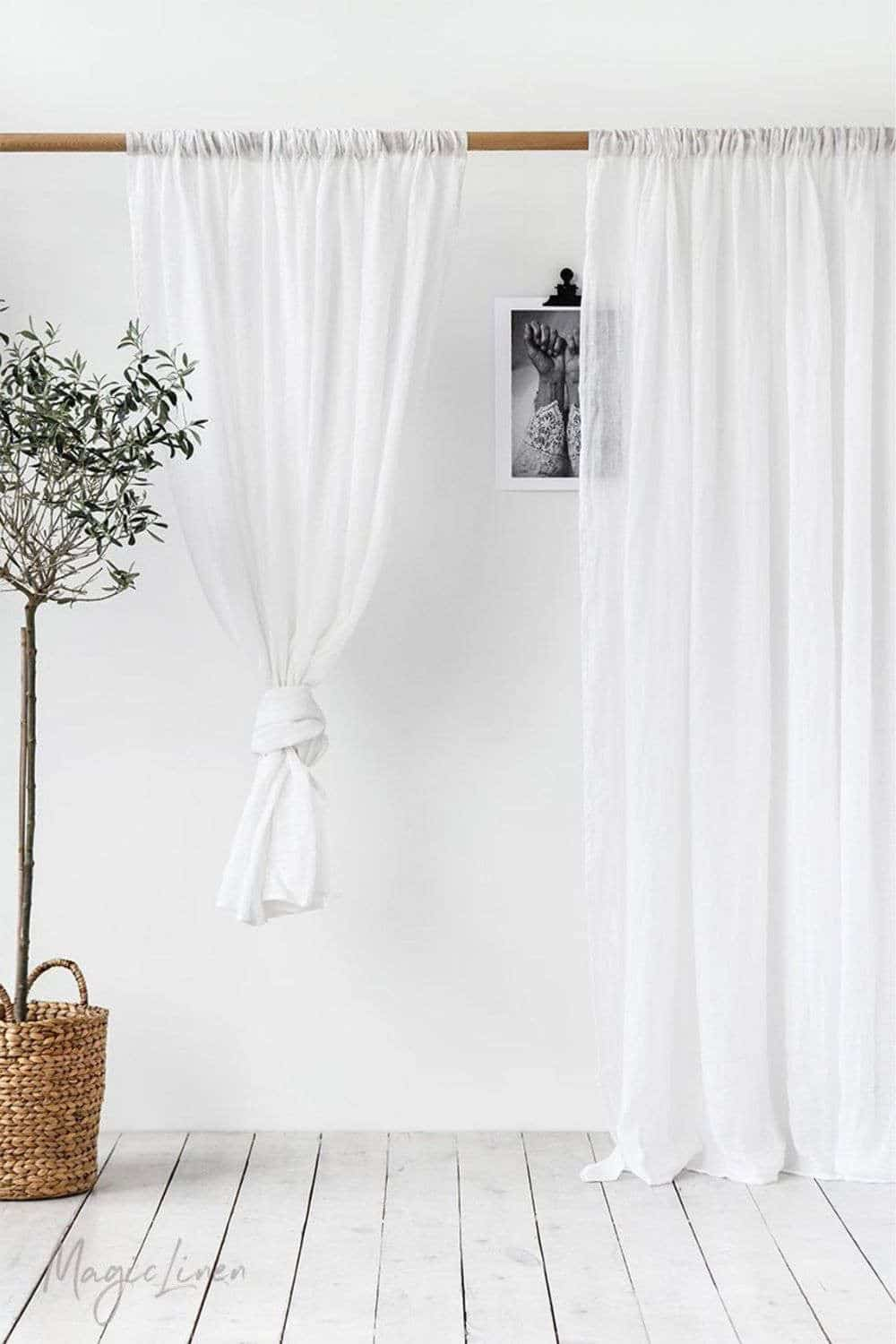 Let's block out that bright morning sun and explore some of our favorite organic and eco friendly curtains Image by Magic Linen #organiclinencurtains #ecofriendlycurtains #sustainablejungle