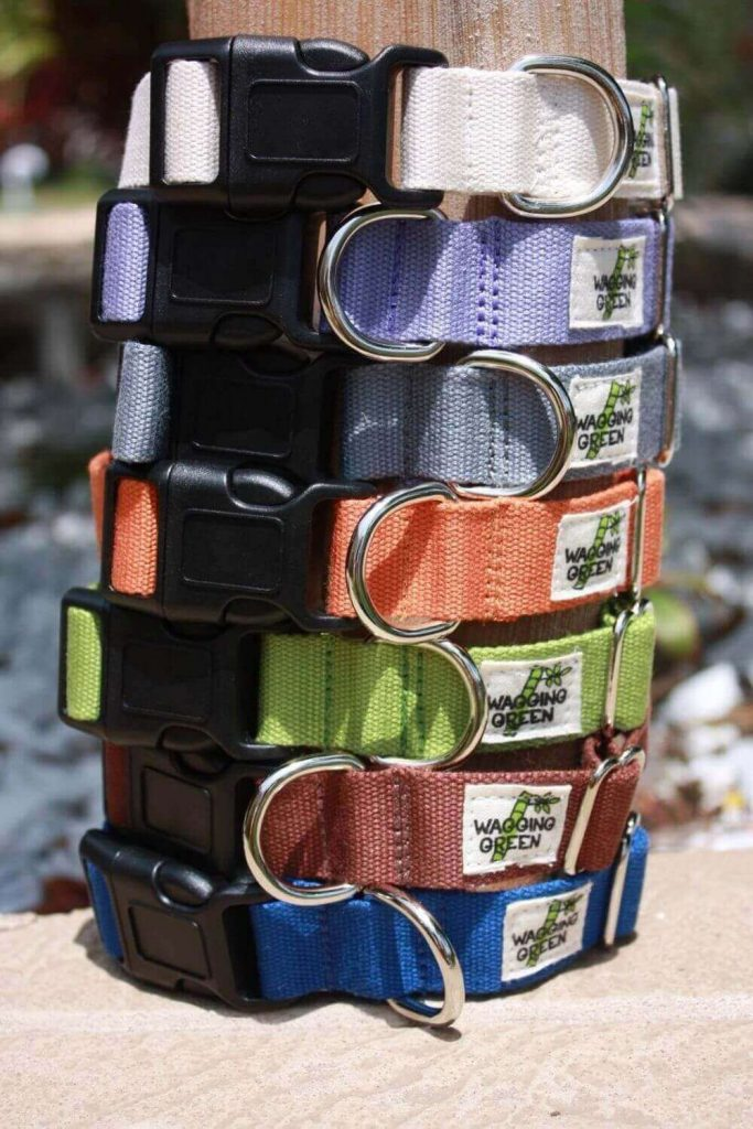 One of the most important pet products that any owner worth his doggy biscuits should care about is a dog collar. But preferably a sustainable and eco-friendly bamboo or hemp pet collar. Image by Wagging Green Pet Shop on Etsy #bamboodogcollar #hempdogcollar #sustainablejungle