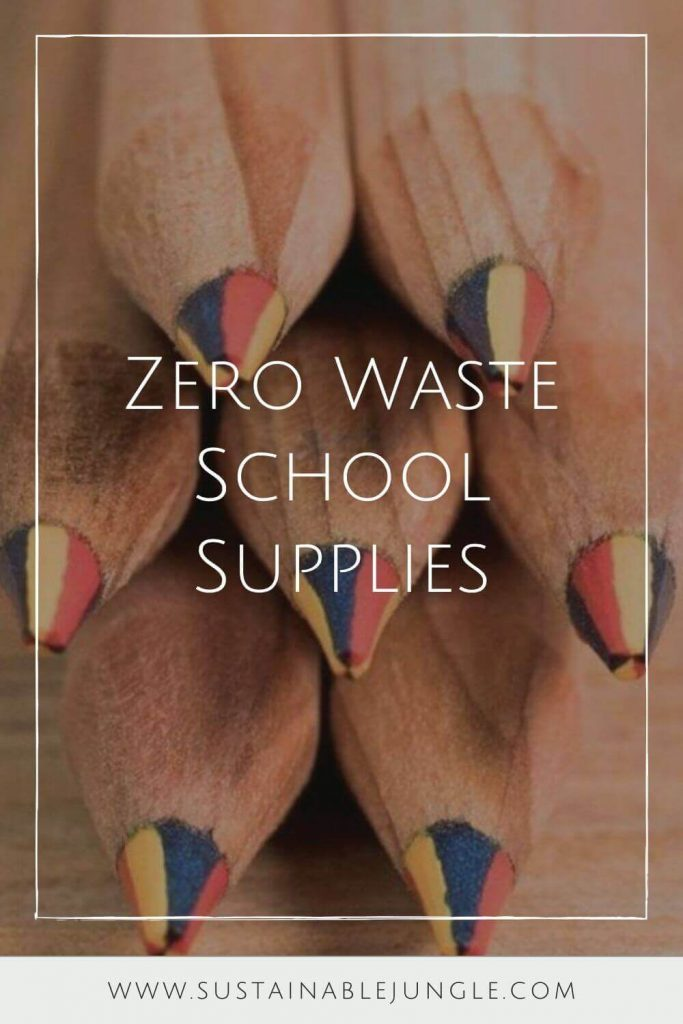 For items you end up having to buy new, this list of eco-friendly & zero waste school supplies (including sustainable stationery) will hopefully help. Image by Sprout World #zerowasteschoolsupplies #ecofriendlyschoolsupplies #sustainablejungle