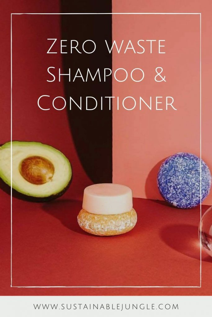 Switching to vegan and cruelty-free shampoo, conditioner, and other hair products is great but isn't enough from an environmental perspective. Thankfully, there are now many zero waste shampoo and conditioners available. Image by EcoRoots #zerowasteshampoo #zerowasteconditioner #sustainablejungle