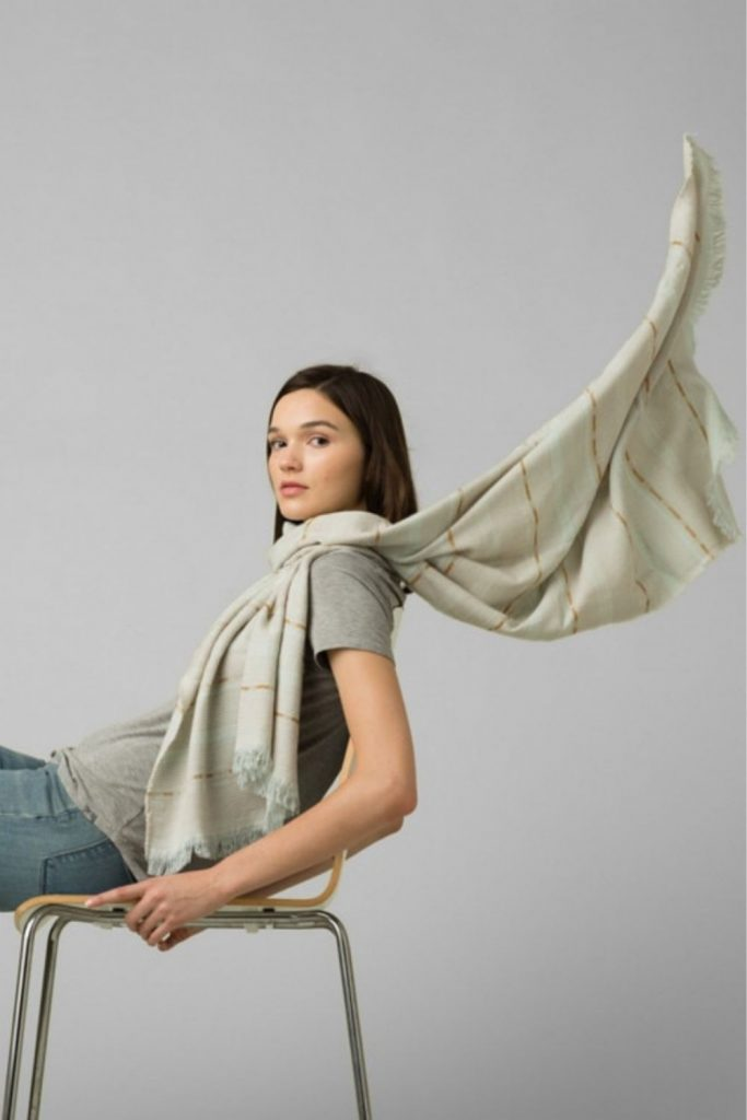 For winter fashionistas, a warm and cozy scarf (almost) completes the picture. A fair trade scarf, however, really ticks all the boxes. Image by prAna #fairtradescarves #sustainablescarves #ecofriendlyscarves #sustainablejungle