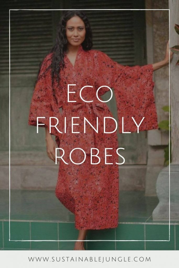 We're cozying up to some of our favorite sustainable and eco friendly robes. Available in all shapes and sizes, they're the perfect way to dress after a hot bath or a cool off in the ocean Image by Ocelot Market #ecofriendlyrobes #sustainablejungle