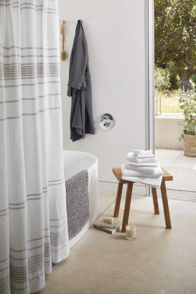 To make our hygiene habits a little healthier, we went on a hunt for the best eco friendly shower curtains. Here's what sustainable showering looks like by the brands doing it best. Image by Made Trade #ecofriendlyshowercurtains #sustainableshowercurtains #sustainablejungle