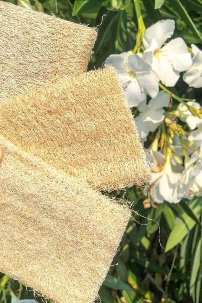 Why scrub with synthetic materials when there are sustainable loofah alternatives that are just as effective and affordable (and won't result in microplastic pollution)?  Image by Brush with Bamboo #loofahalternatives #ecofriendlyloofah #nonplasticloofah #sustainableloofah #sustainablejungle