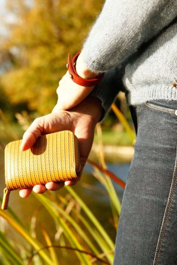 Keep your cash green and pay it forward through the purchase of a sustainable wallet. Not one made with toxin-tanned leather and plastic-based synthetics. Image by Elvis & Kresse #sustainablewallet #ecofriendlywallet #sustainablejungle