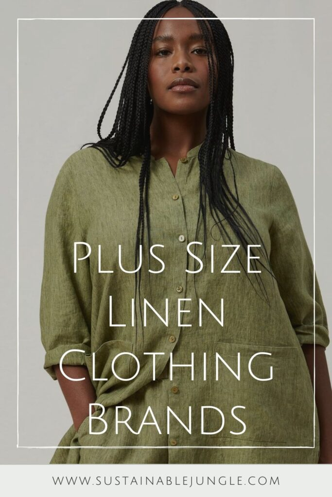 As much as we love linen, we love it even more when users of linen make sure it returns the love to all bodies, big and small. Plus size linen clothing is our focus here! Image by Eileen Fisher #plussizelinenclothing #sustainablejungle