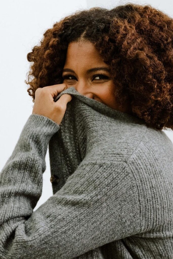 When chilly, blustery days come knocking, sweaters are essential to have. Knitted natural fabrics can warm your body, and fair trade sweaters can warm your body and your heart. Image by ABLE #fairtradesweaters #sustainablesweaters #sustainablejungle