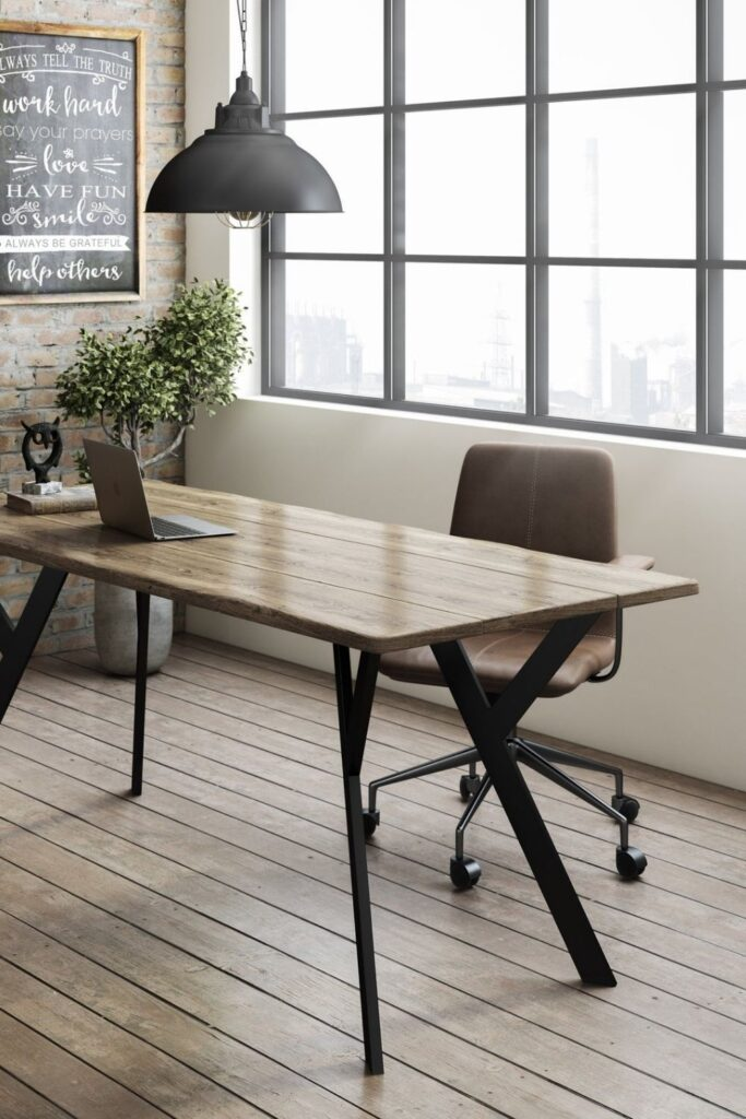 You probably spend more time in your home office than you'd like to, which means more reason to fill it with products that you feel good about and keep you safe. Knowing you're sitting at an eco friendly desk might just make those long hours staring at the computer a little less draining. Image by Umbuzo Rustic #ecofriendlydesks #sustainablejungle