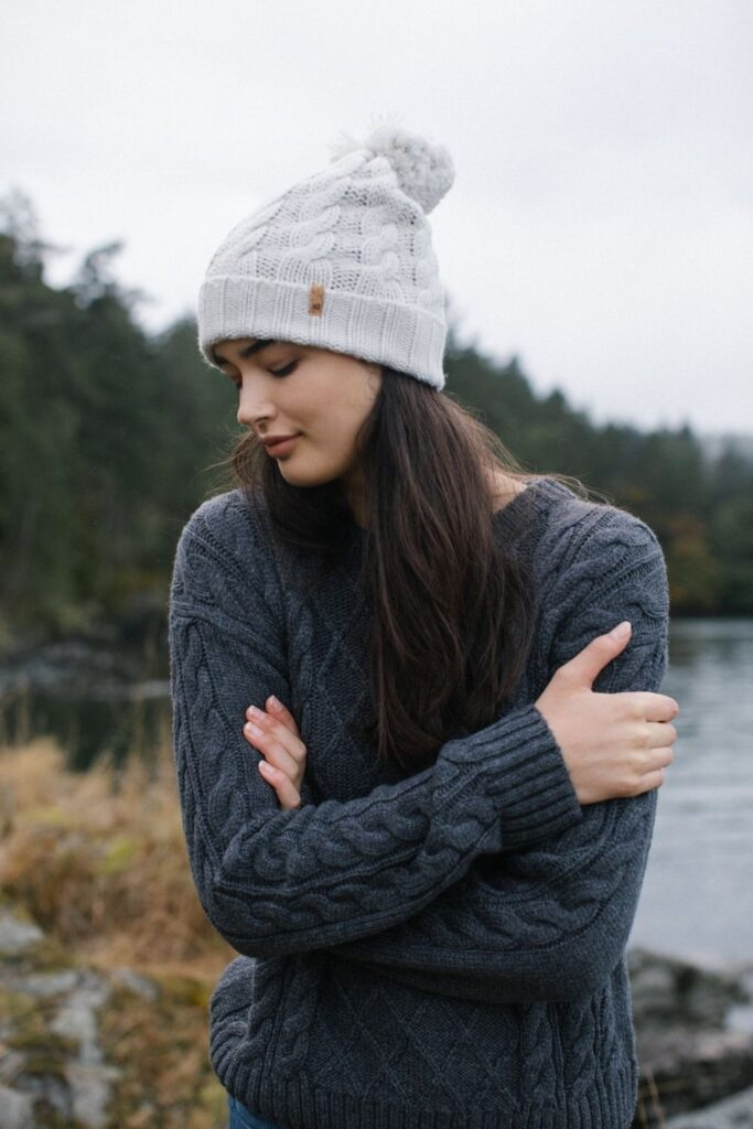 When chilly, blustery days come knocking, sweaters are essential to have. Knitted natural fabrics can warm your body, and fair trade sweaters can warm your body and your heart. Image by tentree #fairtradesweaters #sustainablesweaters #sustainablejungle